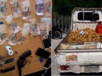 Policía apresa en SDE a 8 hombres, ocupa revólver y armas blancas ilegales en «guagua platanera»